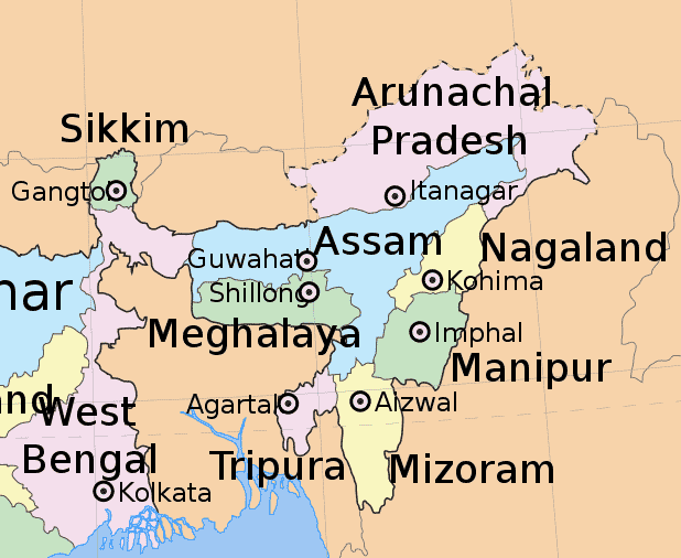 North East Indian States courtesy wiki-commons map