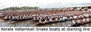Kerala's Vallam Kali Snake boats lined up at the start of the snake boat race